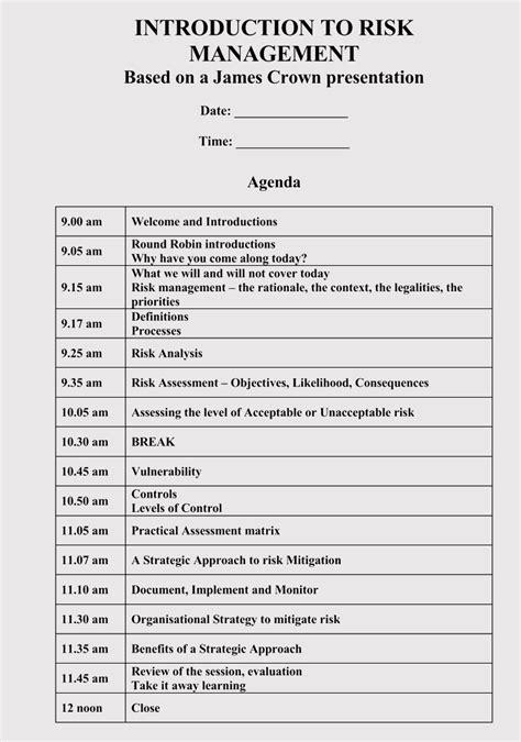 strategic management meeting agendas   templates