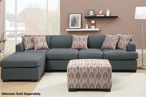 grey sectional couches poundex montreal iii f7971 f7973 grey fabric sectional