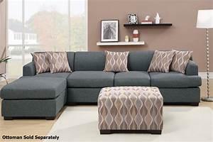 Montreal iii grey fabric sectional sofa steal a sofa for Sectional sofa bed montreal