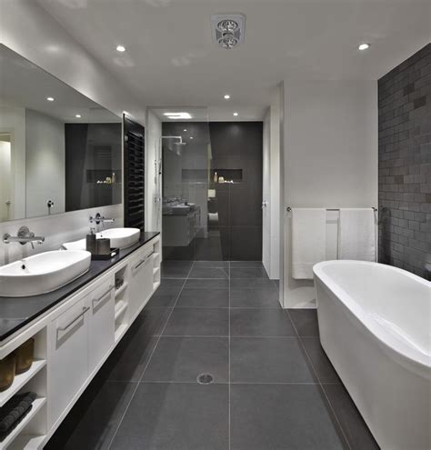 black white grey bathroom ideas bathroom floor to roof charcoal tiles with a black