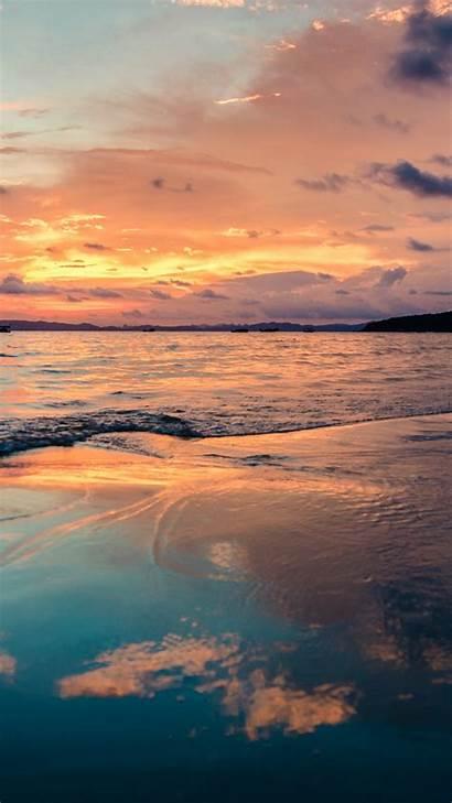 Sunset 4k Ocean Beach Sky Clouds Wallpapers