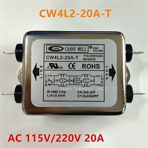 Cw4l2 20a T Power Filter Ac 115v    250v 20a 50  60hz Single