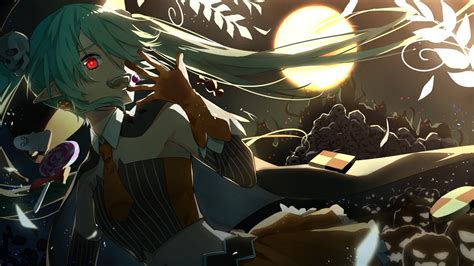 Anime Skull Wallpaper - vocaloid hatsune miku pumpkin anime anime
