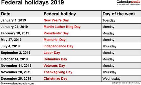 federal holidays  calendar   usa holiday