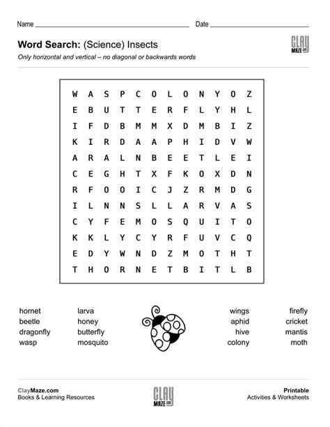 download our free word search puzzle all about insects