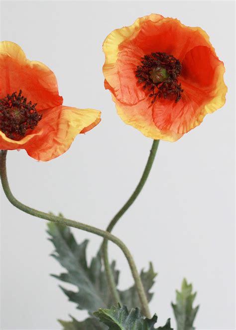 burnt orange poppy stem silk wedding flowers afloral com