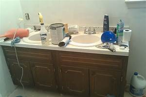 before after my pretty painted bathroom vanity With how to paint an old bathroom vanity