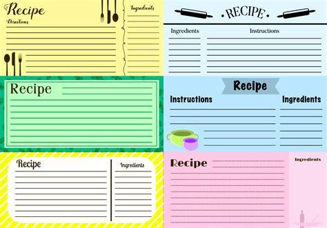 recipe cards vector