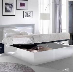 Lit avec coffre de rangement city laque blanc chambre a for Suspension chambre enfant avec matelas mousse ou memoire de forme