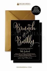 brunch bubbly invitation bridal shower invite black and With black and gold wedding shower invitations