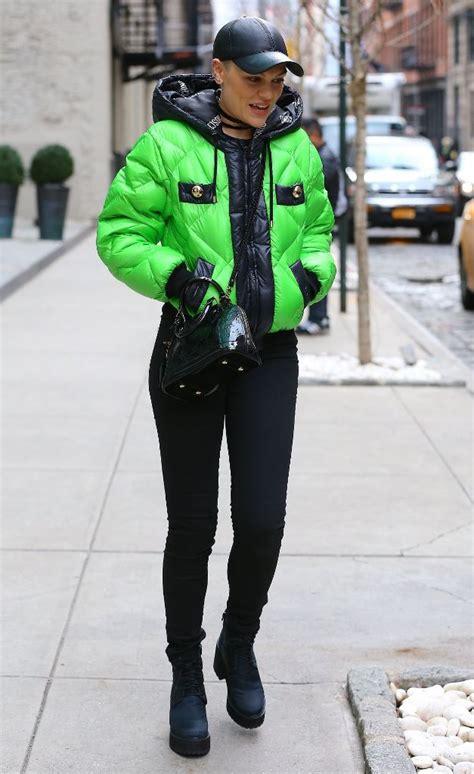 splurge jessie js  york city moschino green  black puffer jacket  louis vuitton black