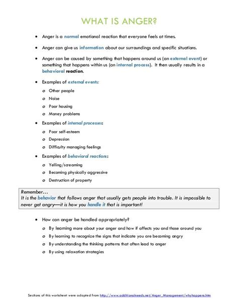 anger management group therapy handouts  worksheets