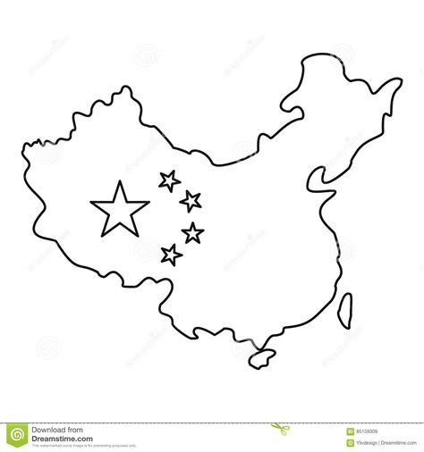 Map Of China With Flag Icon Outline Style Stock Vector