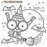 Coloring Witch Halloween Broom Flying Heks Kleurende Bezem Della Cat Outline Besen Scopa Volo Strega Night Vliegen Pagina Coloritura Broomstick sketch template