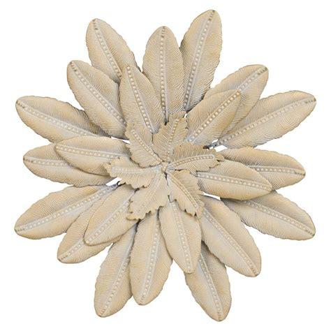 wanddeko blume aus goldfarbenem metall d33 flower oasis maisons du monde