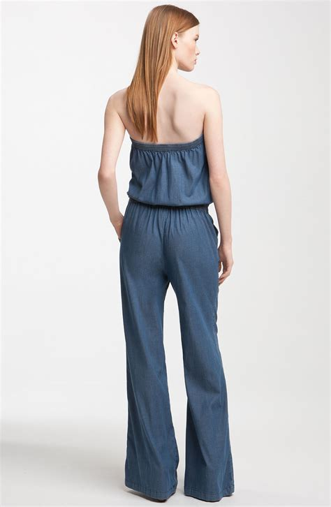 joie jumpsuit joie joan drapey stretch denim jumpsuit in blue indigo