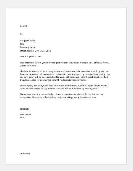 Resignation Letter For Better Future - Sample Resignation Letter