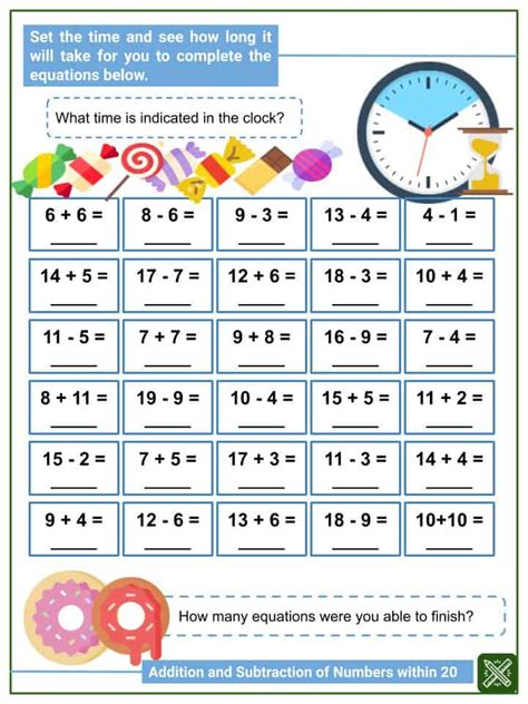 addition  subtraction  numbers   st grade