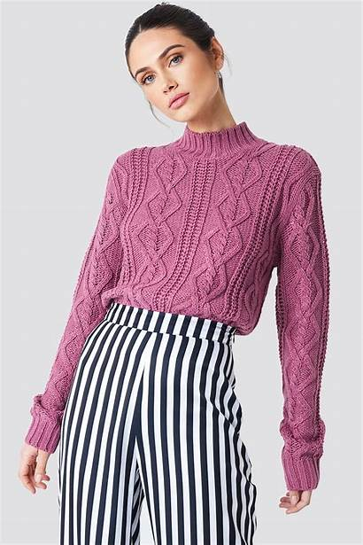 Sweater Knitted Cable Kd Na Purple Ref