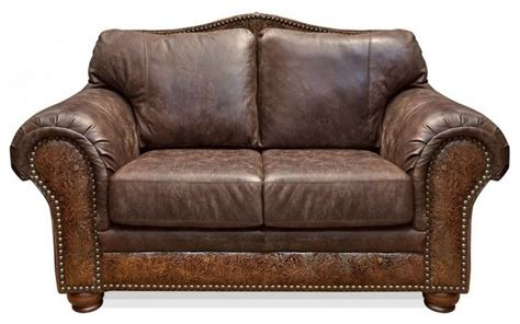 Rustic Leather Loveseat sterling chaparral leather loveseat rustic sofas