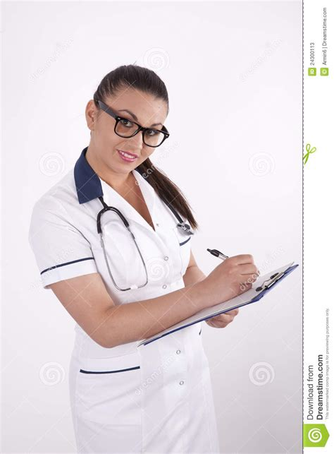 beautiful young female doctor stock  image