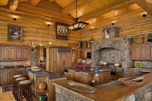 log cabin in the woods with this large kitchen all i can think of is for
