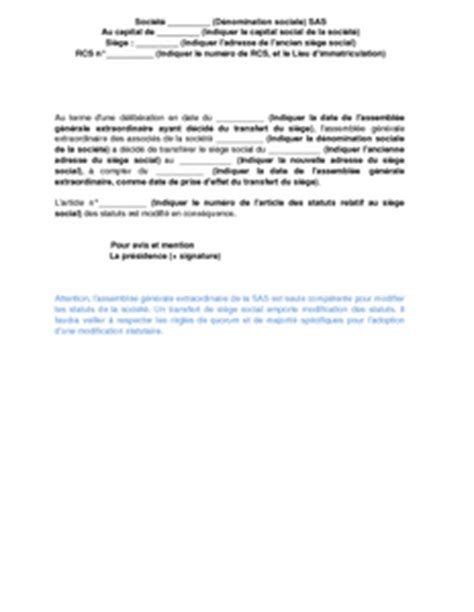 adresse si ge social soci t g n rale p v modification statuts association exemple de lettre