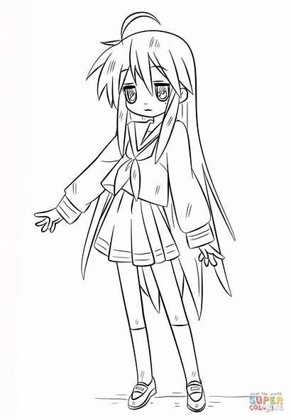 Coloring Anime Konata Izumi Pages Printable Drawing