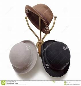 Vintage Hat Hook With Original Bowler Derby Fedora Hat