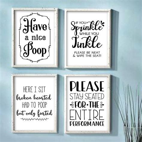 It's instant decor and a reminder you should take a nice dark paint up above adds an unexpected element to this wallpapered bathroom. Funny Bathroom Wall Art Prints Farmhouse Decor Quotes Signs Pictures Gag Gift | eBay