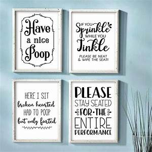 Funny, Bathroom, Wall, Art, Prints, Farmhouse, Decor, Quotes, Signs, Pictures, Gag, Gift