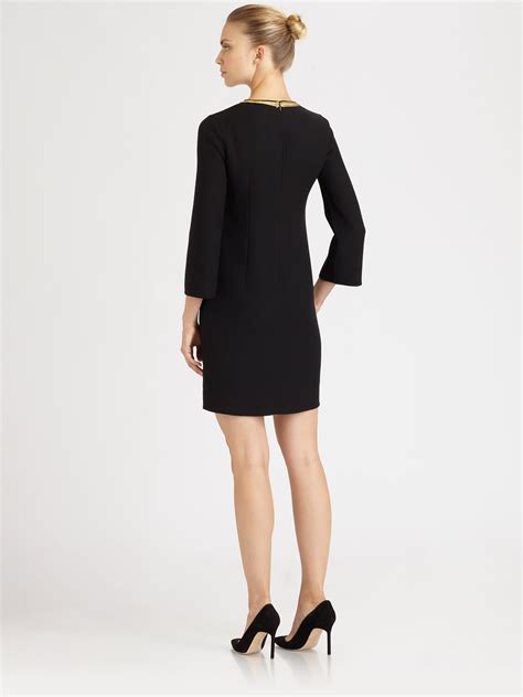 3 4 sleeve checked dress michael kors embroidered wool dress in black lyst