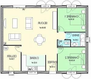 Plan Maison 6 Chambres : plan maison 50m2 2 chambres ~ Voncanada.com Idées de Décoration