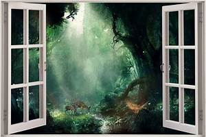 Huge 3D Window view Fantasy Bambi Jungle Wall Sticker ...