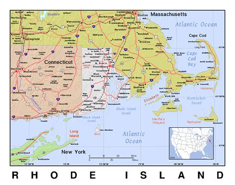 large map  rhode island  relief rhode island large