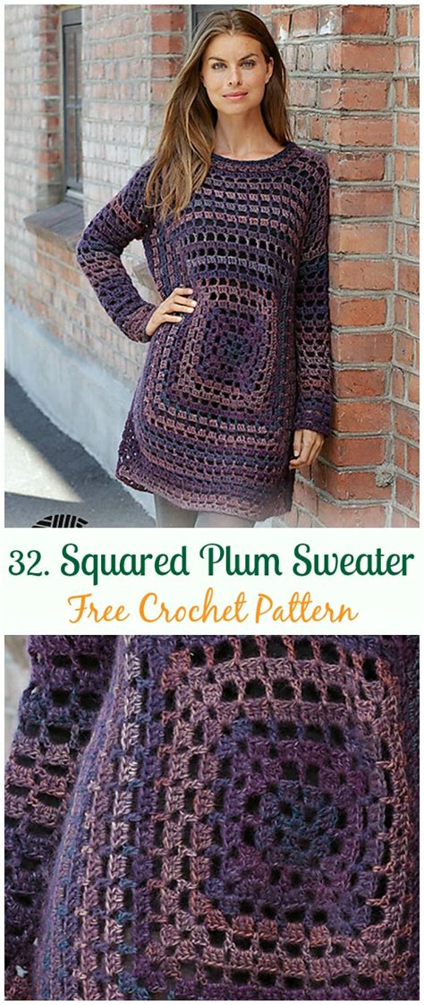 crochet women pullover sweater  patterns tops tunics