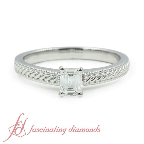 carat emerald cut diamond solitaire vintage milgrain