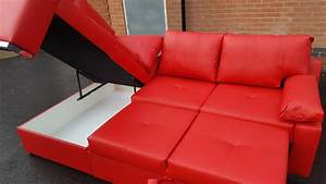 brand new red leather corner sofa bed with storage can With used red sectional sofa