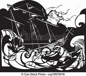 Storm Ship Vector Illustration - Instant Download ...