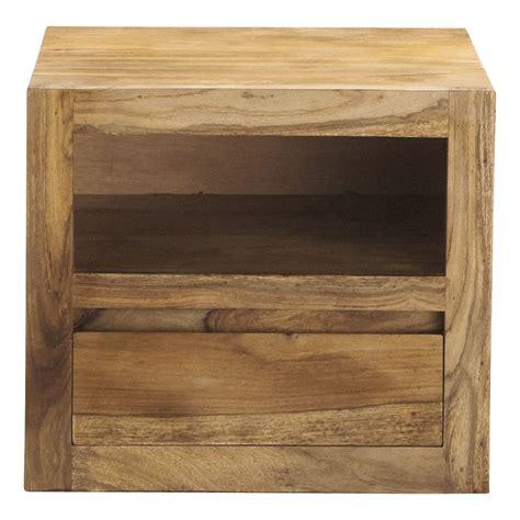 table de chevet avec tiroir en bois de sheesham massif l 40 cm stockholm maisons du monde