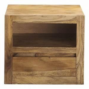 Table De Chevet Bois : table de chevet avec tiroir en bois de sheesham massif l 40 cm stockholm maisons du monde ~ Teatrodelosmanantiales.com Idées de Décoration
