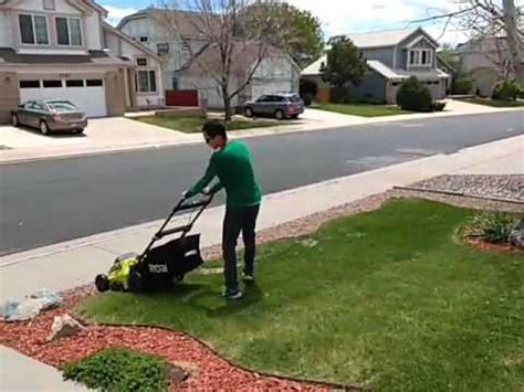 Ryobi Volt Inch Mower First Try Youtube