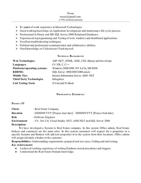 Asp Net Resume For Experienced by Net Experience Resume Sle