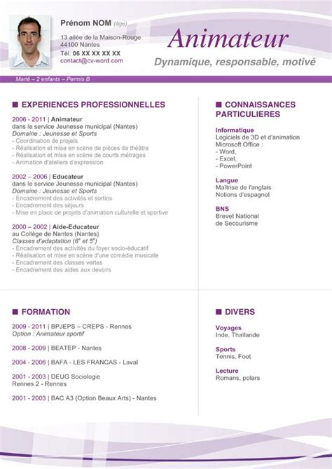 Copie Cv Gratuit by T L Charger Exemple Mod Le Cv Original Animateur Format