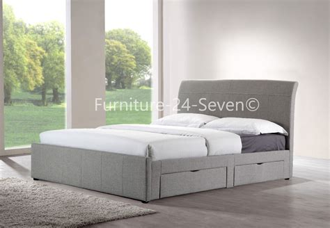 Upholstered Bed Frame With Storage by Grey Fabric Upholstered Linen 4 Drawer Storage Bed Frame