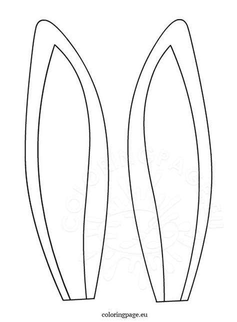 hare ears template coloring page