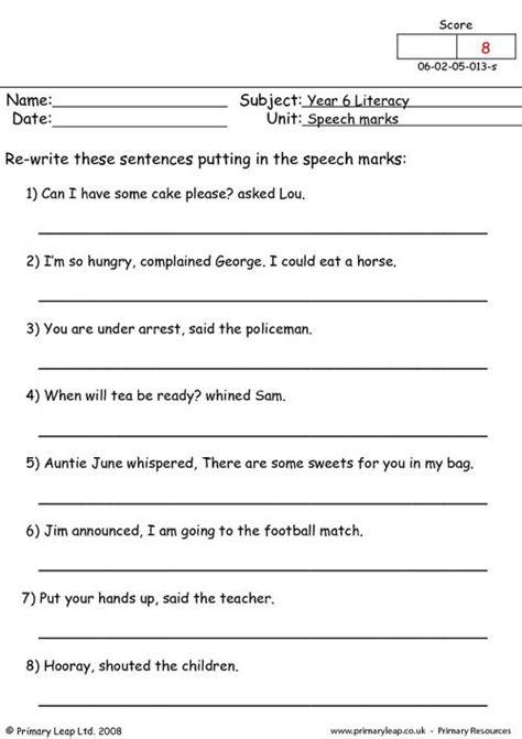 ks2 worksheets speech marks speech marks 1 primaryleap co uk