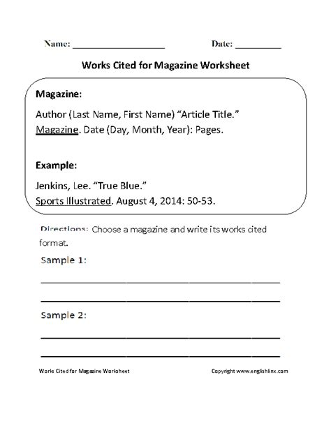 works cited for magazine worksheet englishlinx board