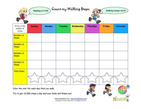 count  steps walking chart printable tracking sheet