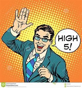 High Five Joyful Businessman Stock Vector - Image: 63832962